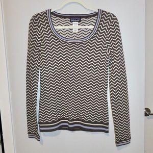 Patagonia Chevron Brown White Merino Wool Sweater